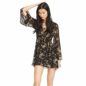 Free People Lilou Floral Print Mini Dress